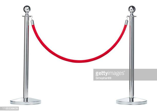 barrier rope isolated on white. silver. luxury, vip concept - construction barrier stock pictures, royalty-free photos & images