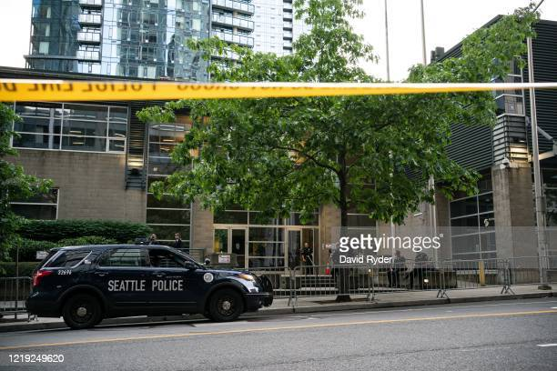 Barrier stands outside of the Seattle Police Departments West Precinct on June 10, 2020 in Seattle, Washington. The departments East Precinct has...