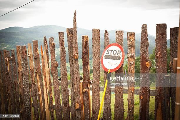 Barriers with stop sign, Rhodope mountains, Polkovnik Serafimovo, Bulgaria