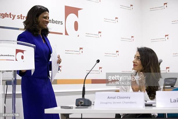 Barrister Amal Clooney wife of US actor George Clooney attends a press conference with Laila Ali wife of former Maldives president Mohamed Nasheed in...