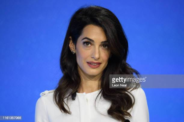 Barrister and UK Foreign Office Special Envoy on Media Freedom Amal Clooney speaks to delegates during day two of the Global Conference on Press...