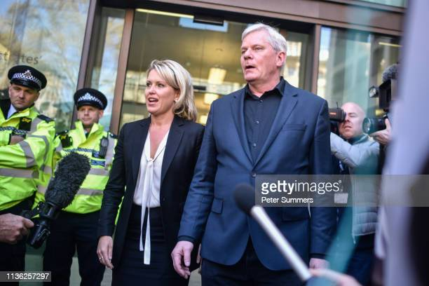 Barrister Jennifer Robinson and Editor-in-chief of Wikileaks, Kristinn Hrafnsson, address the media outside Westminster Magistrates Court on April...