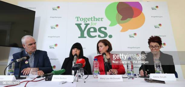 Barrister Noel Whelan Elaine Bedford Mary Lou McDonald and Ailbhe Smyth at a Together For Yes press conference in Dublin in Dublin ahead of the...