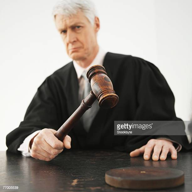 barrister using gavel, portrait - penalty stock pictures, royalty-free photos & images