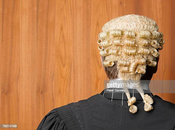 Barrister wearing wig, rear view