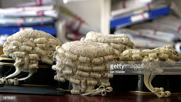Barrister wigs are shown prior to British Home Secretary David Blunkett announcing changes to sentencing laws May 7, 2003 in London, England....