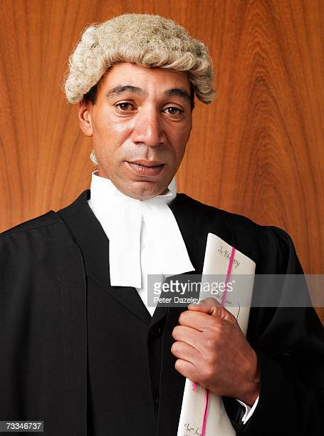 Barrister with papers, portrait, close-up
