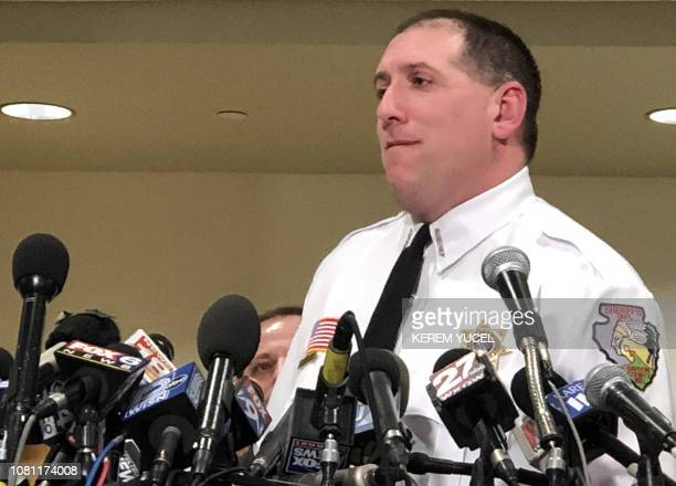 Barron County Sheriff Chris Fitzgerald addresses a press conference January 11 2019 in Barron Wisconsin one day after missing teenager Jayme Closs...