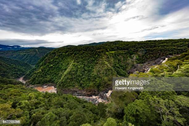 barron falls, atherton tablelands, misty panoramic view - atherton tableland stock pictures, royalty-free photos & images