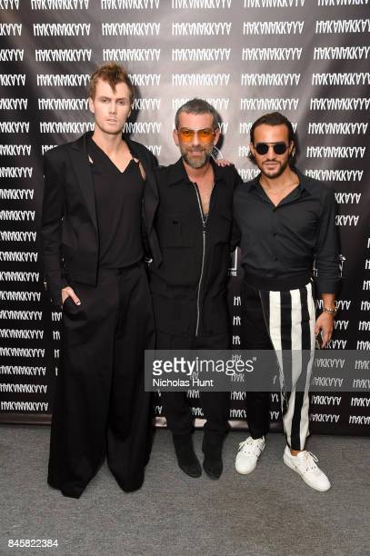 Barron Hilton Hakan Akkaya and Emir Bahadir pose backstage at Hakan Akkaya fashion show during New York Fashion Week The Shows at Gallery 2 Skylight...