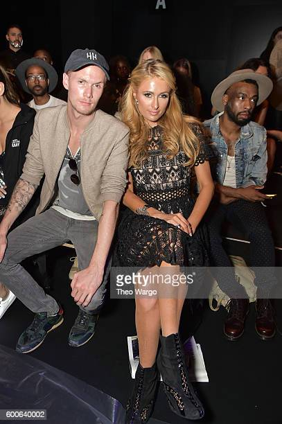 Barron Hilton II and Paris Hilton attend the Michael Costello fashion show during New York Fashion Week: The Shows September 2016 at The Dock,...