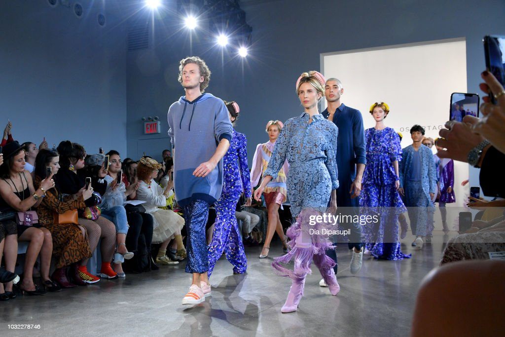 Barron Hilton II and Tessa Hilton lead models down the runway during the Marcel Ostertag front Row during New York Fashion Week: The Shows at Gallery II at Spring Studios on September 12, 2018 in New York City.