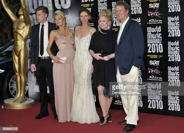 Barron Nicholas Hilton, Paris Hilton, Nicky Hilton, Kathy Hilton and Rick Hilton attend the World Music Awards 2010 at the Sporting Club on May 18,...