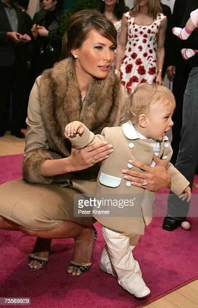 Barron Trump and Melania Trump attend the 16th Annual Bunny Hop at FAO Schwartz to benefit the Memorial SloanKettering Cancer Center March 13 2007 in...