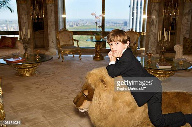 Barron Trump poses for a portrait on April 14 2010 in New York City Barron Trump is wearing pants and jacket by Papo d'Anjo shirt by Leon and shoes...