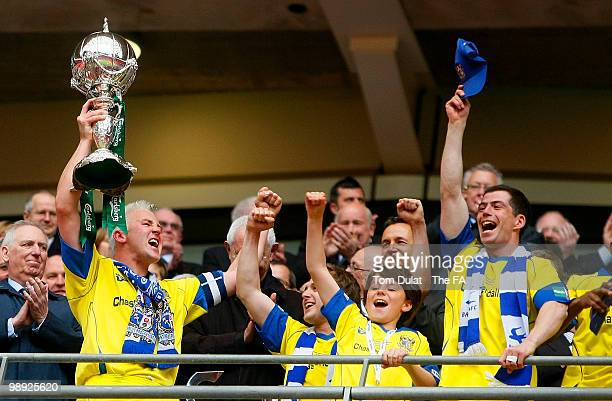 Barrow captain Paul Jones lifts the trophy after winning the FA Carlsberg Trophy Final match between Barrow and Stevenage Borough at Wembley Stadium...
