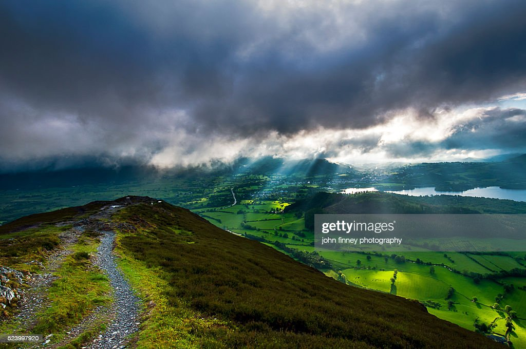 Barrow fell and Newlands valley, Cumbrian Mountains, Braithwaite, Keswick, Lake District National park. UK. : Stock Photo