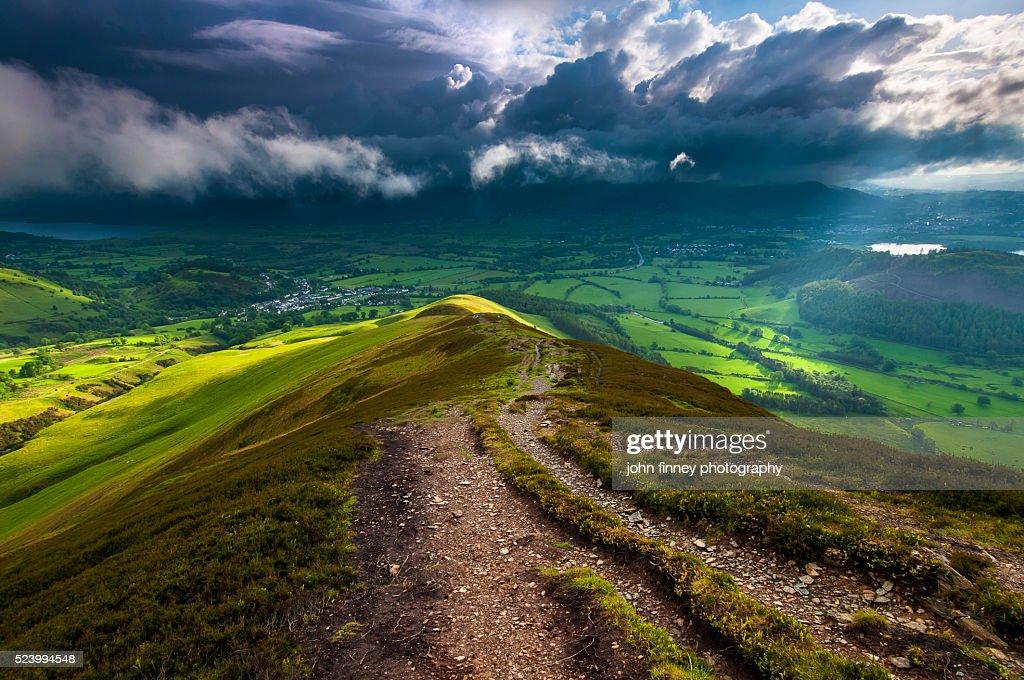 Barrow fell, Cumbrian Mountains, Braithwaite, Keswick, Lake District National park. UK. : Foto de stock