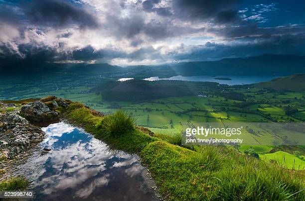 Barrow fell puddle and light rays, Cumbrian Mountains, Keswick, Lake District National park. UK.