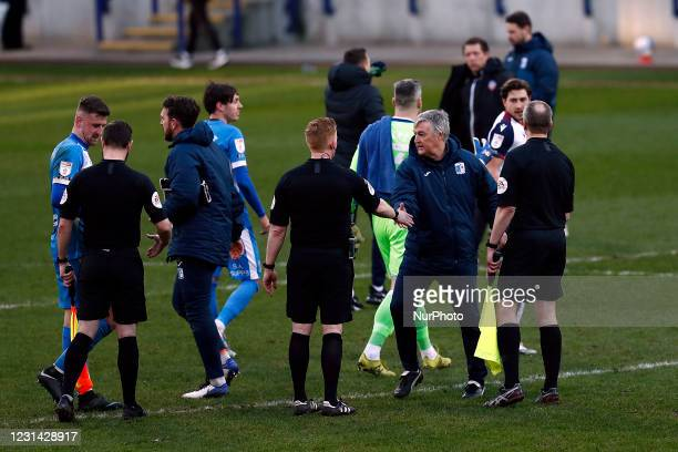 Barrow manager Rob Kelly at full time during the Sky Bet League 2 match between Bolton Wanderers and Barrow at the Reebok Stadium, Bolton on Saturday...