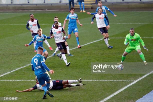 Barrows Scott Quigley comes close in the second half during the Sky Bet League 2 match between Bolton Wanderers and Barrow at the Reebok Stadium,...