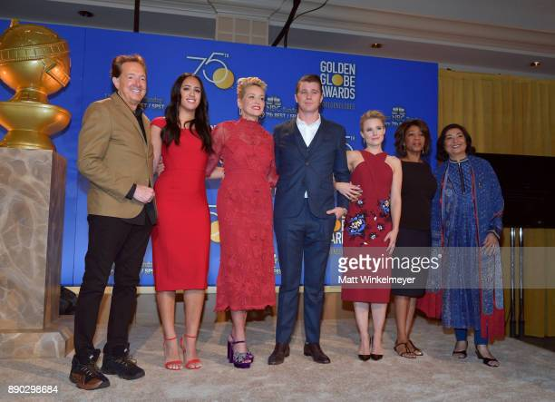 Barry Adelman Simone Alexandra Johnson Sharon Stone Garrett Hedlund Kristen Bell Alfre Woodard and Meher Tatna attend the 75th Annual Golden Globe...