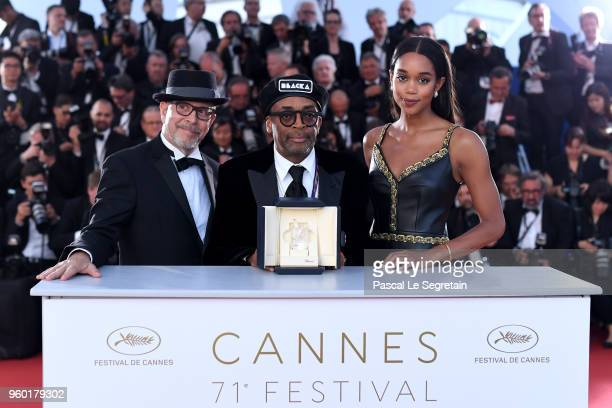 Barry Alexander Brown, director Spike Lee posing with the Grand Prix award for 'BlacKkKlansman' and Laura Harrier next to him at the Palme D'Or...