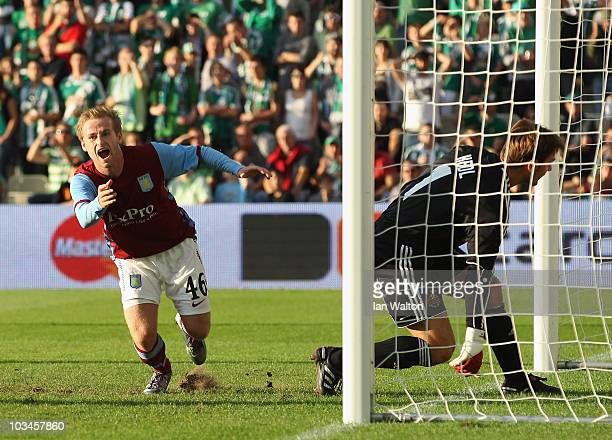 Barry Bannan of Aston Villa celebrates scoring a goal during the UEFA Europa League Play off first leg Qualifying match between Rapid Vienna and...