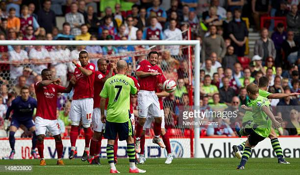 Barry Bannan of Aston Villa scores a goal during the Pre Season Friendly match between Nottingham Forest and Aston Villa at City Ground on August 4...