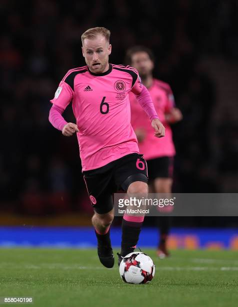 Barry Bannan of Scotland controls the ball during the FIFA 2018 World Cup Qualifier between Scotland and Slovakia at Hampden Park on October 5 2017...