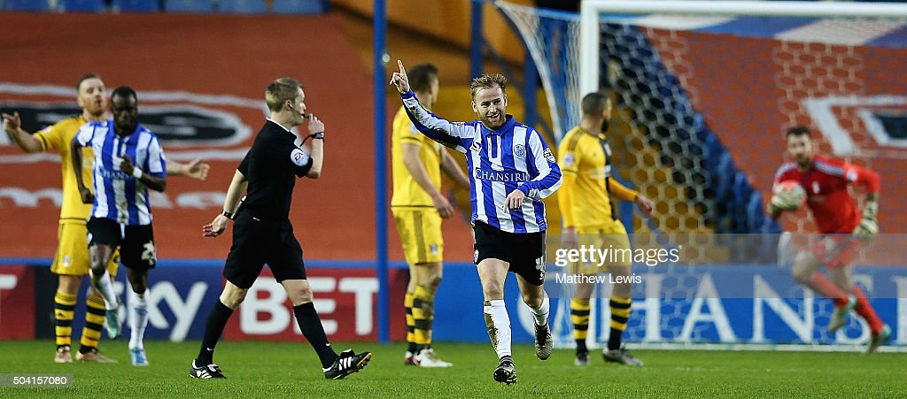 Barry Bannan of Sheffield Wednesday celebrates his goal during The Emirates FA Cup Third Round match betwen Sheffield Wednesday and Fulham at Hillsborough Stadium on January 9, 2016 in Sheffield, England.