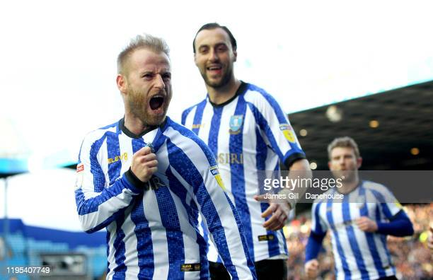 Barry Bannan of Sheffield Wednesday celebrates scoring his teams first goal which was a penalty during the Sky Bet Championship match between...