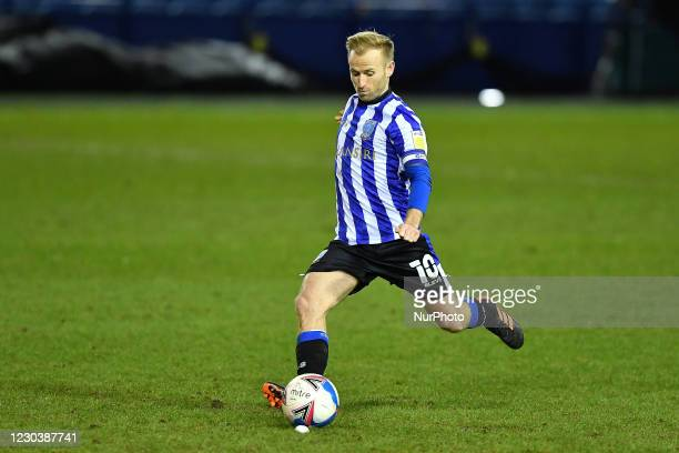 Barry Bannan of Sheffield Wednesday takes a free-kick during the Sky Bet Championship match between Sheffield Wednesday and Derby County at...