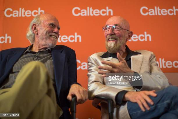 Barry Barish and Kip Thorne address a press conference at California Institute of Technology after receiving the 2017 Nobel Prize in Physics address...