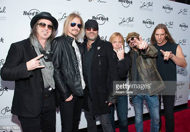 Barry Barnes Stoney Curtis Danny Koker John Zito Paul DiSibio and Tommy Paris of Count's 77 attend Les Paul's 100th anniversary celebration at Hard...