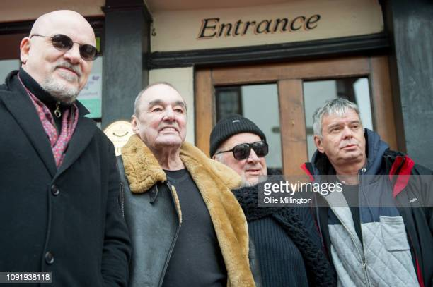 Barry Baz Warne Dave Greenfield Jet Black and JeanJacques Burnel of The Stranglers present The Starr Inn with the PRS for Music Heritage Award on...