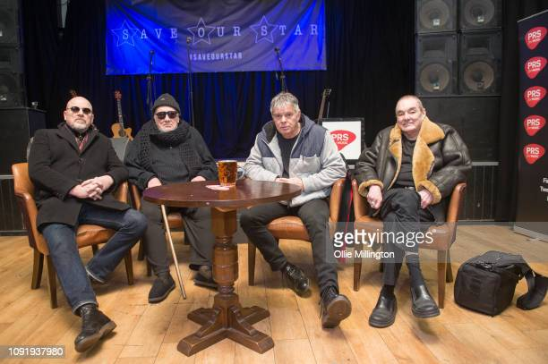 Barry Baz Warne Jet Black JeanJacques Burnel and Dave Greenfield of The Stranglers present The Starr Inn with the PRS for Music Heritage Award on...