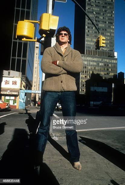 Barry Beck of the New York Rangers poses while standing on a street corner in New York City circa 1980 in New York New York