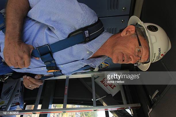 Barry Benson a construction crane operator for 40 years gets ready to climb out onto his crane's arm 180 feet in the air at the University of...