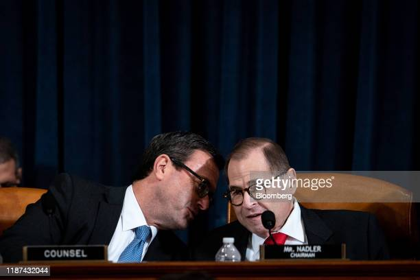 Barry Berke Democratic counsel with the Judiciary Committee speaks to Representative Jerry Nadler a Democrat from New York and chairman of the House...