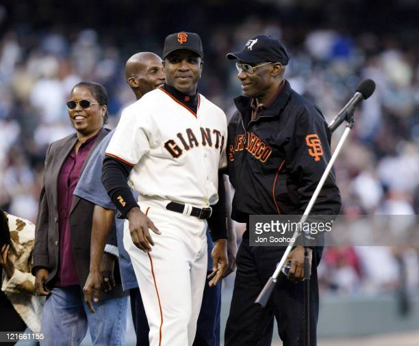Barry Bonds and Bobby Bonds during a ceremony honoring Barry Bonds' 500th stolen base