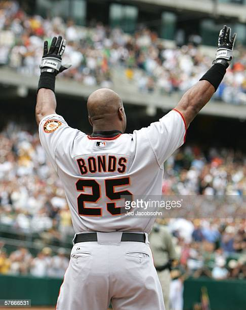Barry Bonds of San Francisco Giants celebrates after hitting his 714th career home run tying Babe Ruth for second place on the all time home run list...
