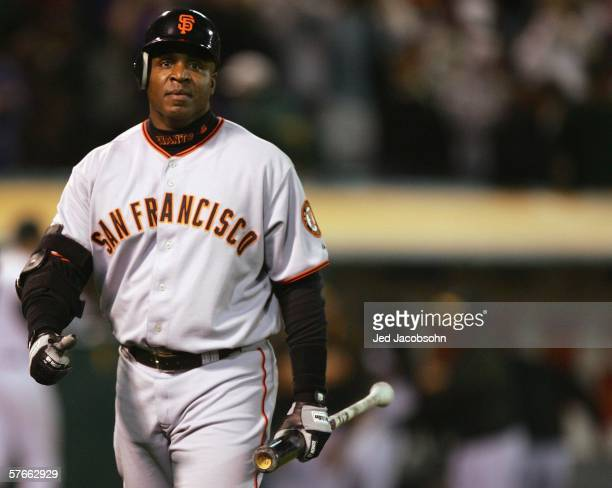Barry Bonds of San Francisco Giants strikes out in the ninth inning, leaving Bonds 0-for-3 with a walk during the game against the Oakland Athletics...