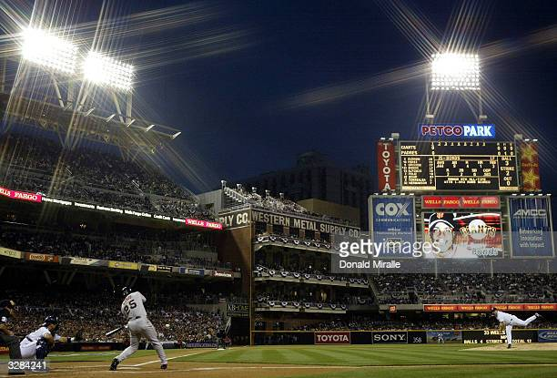 Barry Bonds of the San Francisco Giants at bat against Pitcher David Wells of the San Diego Padres Opening Game Day at Petco Park on April 8, 2004 in...
