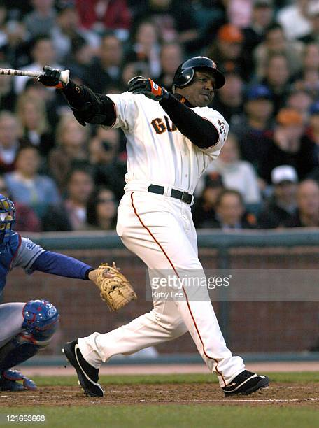 Barry Bonds of the San Francisco Giants bats during 115 victory over the Los Angeles Dodgers at SBC Park on Tuesday June 22 2004