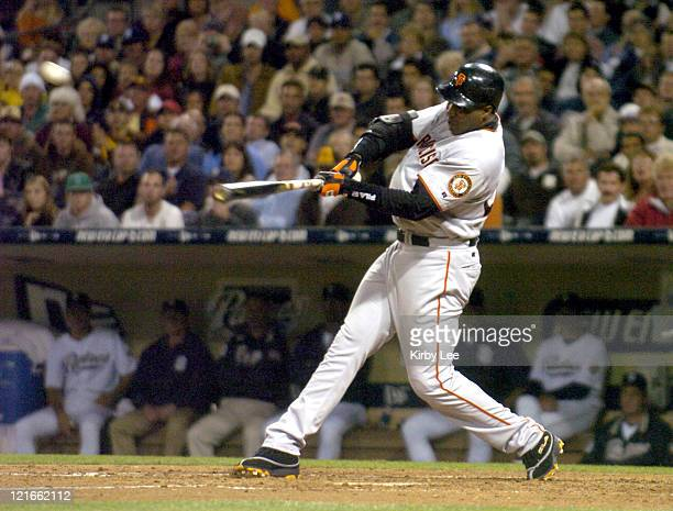 Barry Bonds of the San Francisco Giants bats during 41 victory over the San Diego Padres at Petco Park in San Diego Calif on Thursday Sept 30 2004