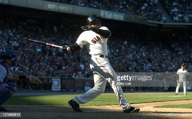 Barry Bonds of the San Francisco Giants during 93 victory over the Los Angeles Dodgers at SBC Park on Thursday June 24 2004