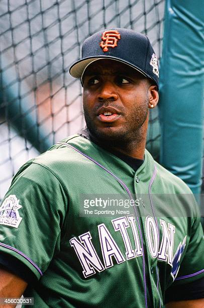 Barry Bonds of the San Francisco Giants during the All-Star Game on July 7, 1998 at Coors Field in Denver, Colorado.