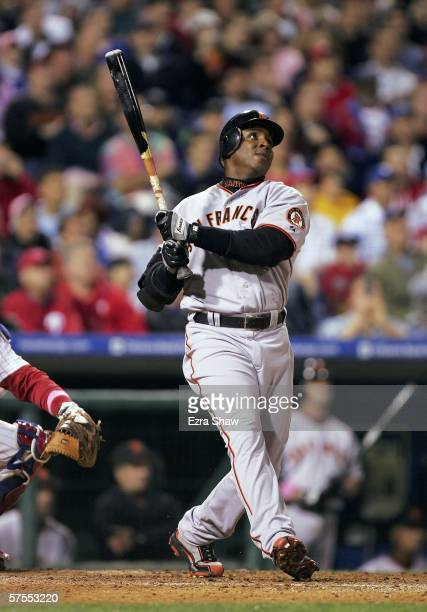 Barry Bonds of the San Francisco Giants hits his 713th career home run in the top of the 6th inning against the Philadelphia Phillies at Citizens...
