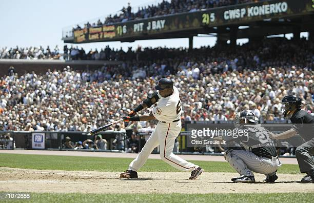 Barry Bonds of the San Francisco Giants hits his 715th career home run passing Babe Ruth for second place on the all time home run list in the fourth...